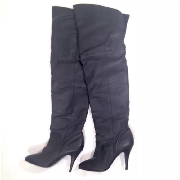 14f12bc0ba61e Vintage 80s Thigh High Black Leather Boots Size 8